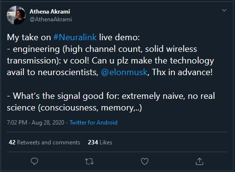 tweet showing that scientists want to obtain access to neuralink technology