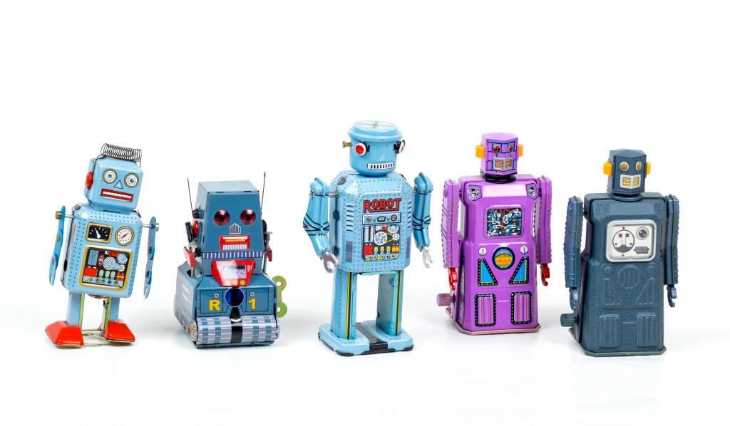 photograph of robot action figures