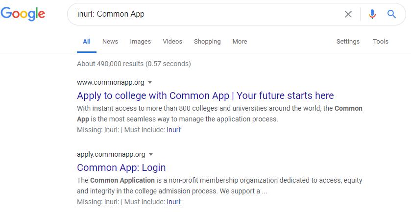"screenshot of using the ""allinURL:"" operator in Google Search"