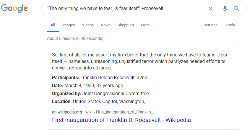 screenshot of searching google with a quoted phrase and the plus sign operator