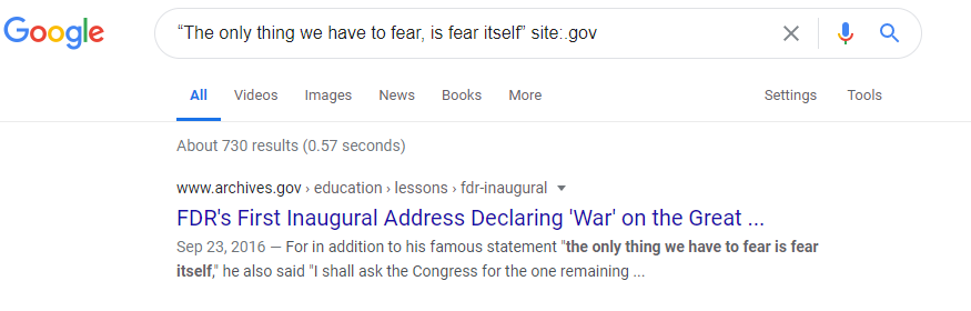 screenshot showing how to search Google for only sites ending with .gov