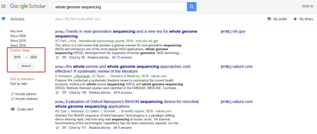 screenshot of how to use custom date range in google scholar