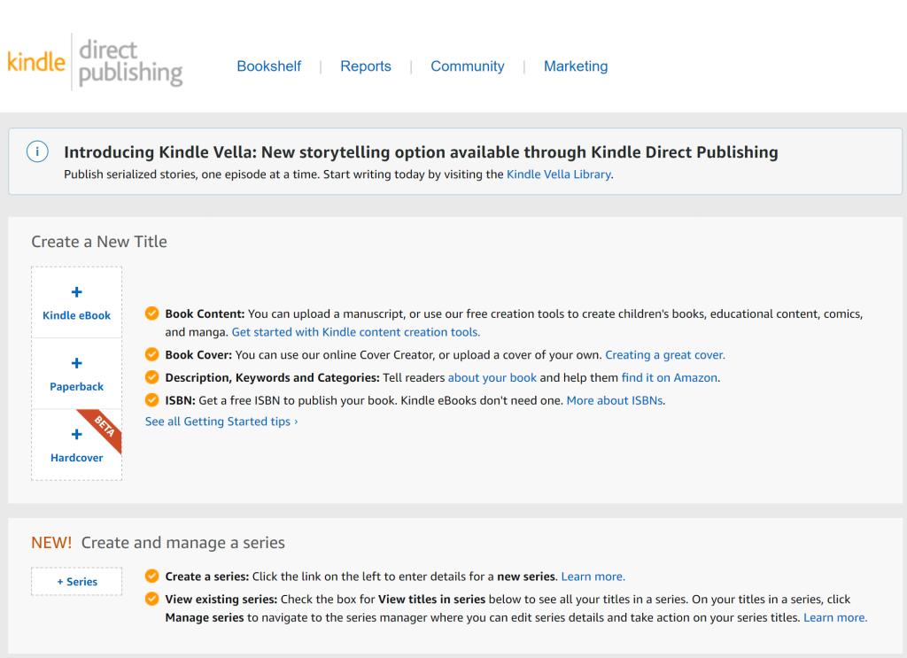 screenshot of amazon kindle direct publishing website