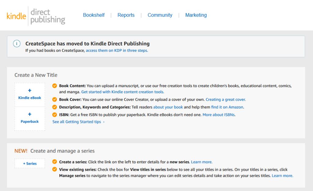 screenshot of amazon.com's kindle direct publishing website