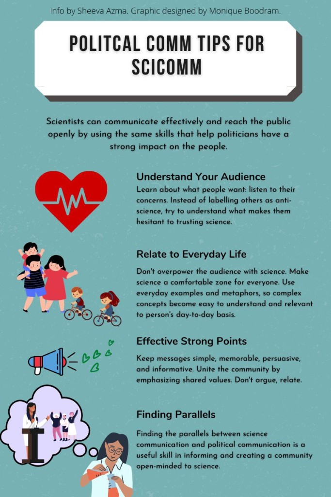 """infographic designed by monique faith boodram titled """"political comm tips for scicomm"""""""