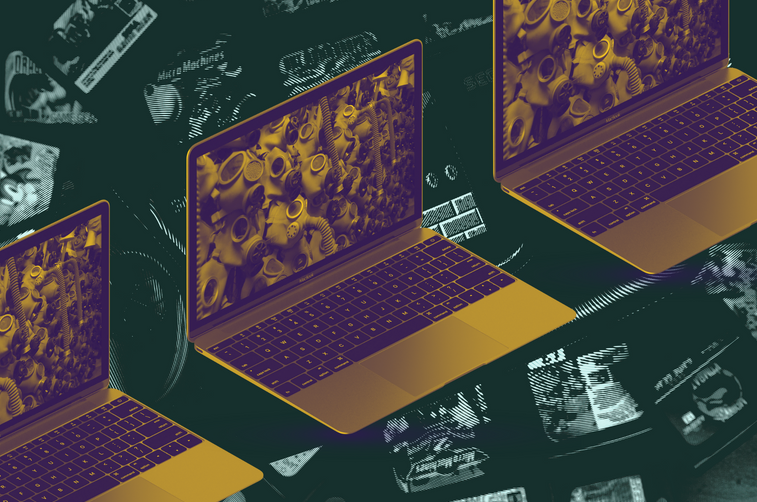 art from the xylom - laptops superimposed on a background of video games