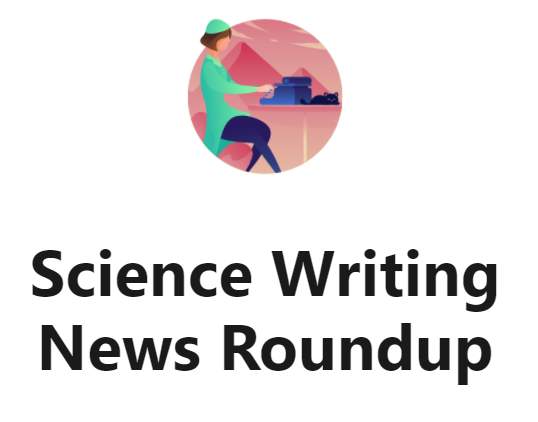 logo for science writing news roundup