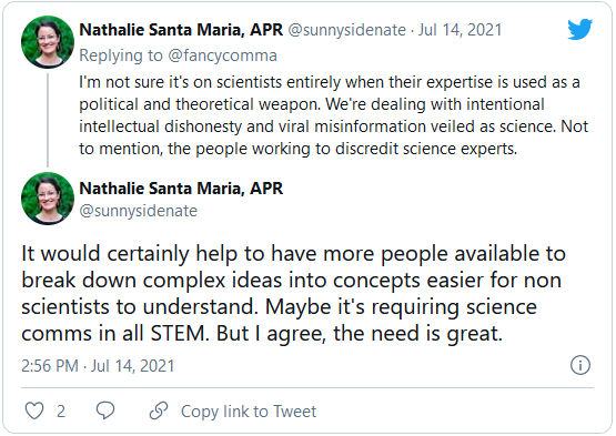 screenshot of a tweet discussing the need for greater science communication in the covid-19 pandemic