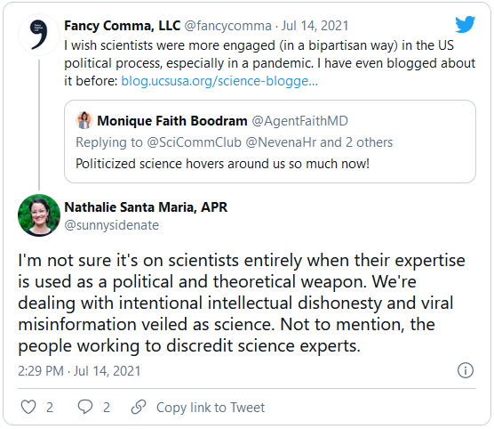 screenshot of a tweet talking about misinformation's role exacerbating the pandemic's problems