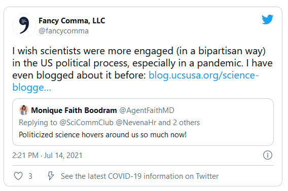 screenshot of a tweet talking about the need for greater political engagement of scientists