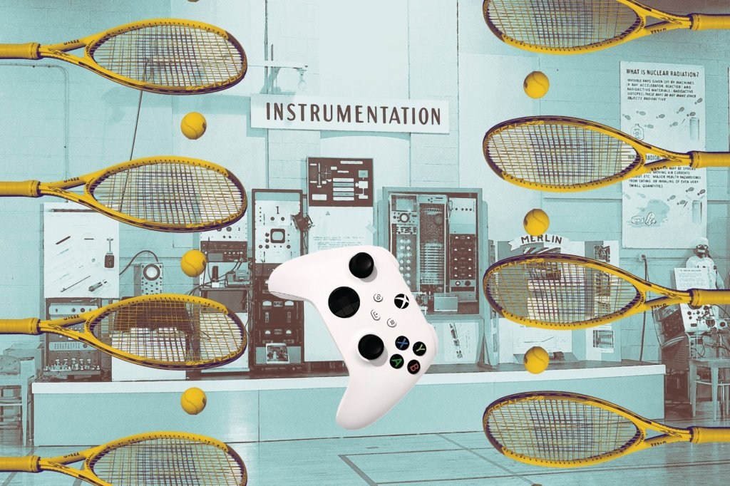 picture of tennis racquets and balls and a video game controller superimposed on a background of 1950s-looking computers