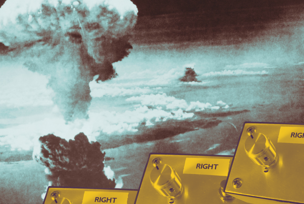 artistic depiction of a nuclear weapon such as those used in world war II