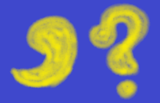 drawing of a comma and a question mark